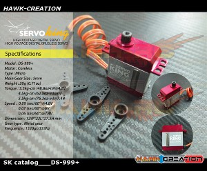 ServoKing DS-999+ Digital Micro Size Servo (0.06s, 5.5kg @ 7.4V)